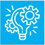 icone d'une ampoule entourée de 2 rouages pour illustrer le terme experimentation dans une pastille bleue