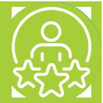 icone d'une personne entourée de 3 étoiles pour illustrer les compétences dans une pastille verte