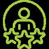 icone d'une personne entourée de 3 étoiles pour illustrer les compétences