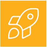 Icone d'une fusée dans une pastille orange