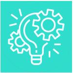 icone d'une ampoule entourée de 2 rouages pour illustrer le terme experimentation